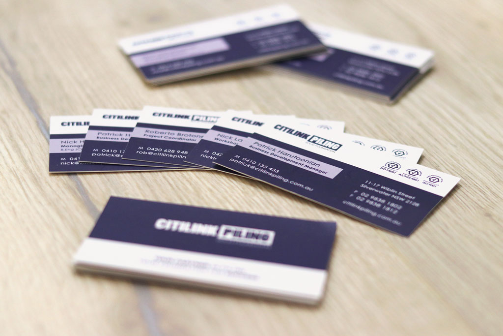 Citilink Piling Business Cards Front